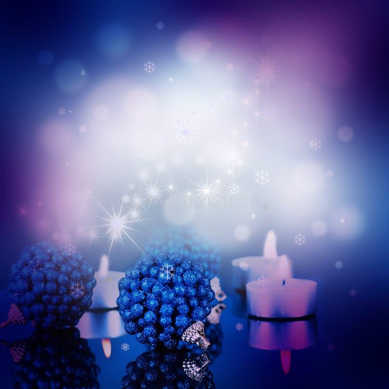 Z błękitny piłkami nowy rok karta royalty ilustracja