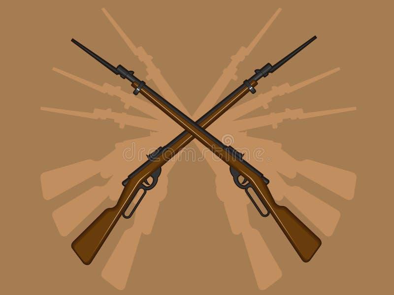 Z Bagnetem Druga Wojna Światowa Karabin ilustracja wektor