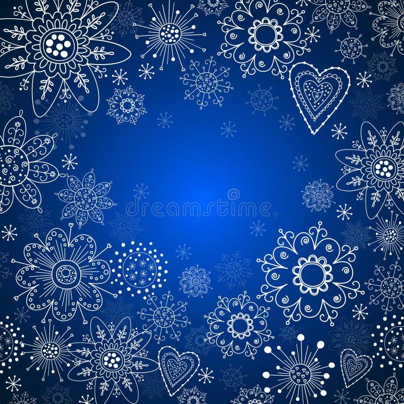 Z biały płatek śniegu zaproszenie bożenarodzeniowa karta royalty ilustracja