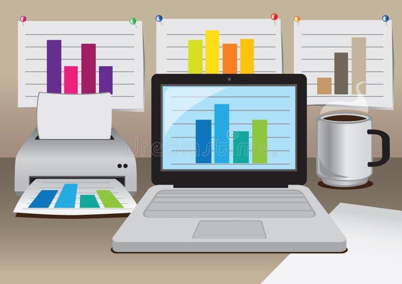 Z biznesowym diagramem wektorowy biurowy komputer ilustracja wektor