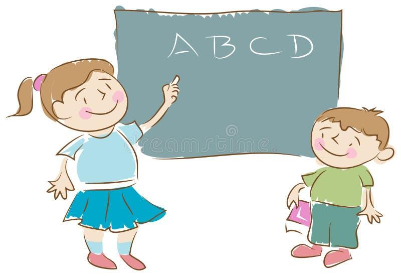 Z Blackboard szkolni Dzieciaki ilustracji