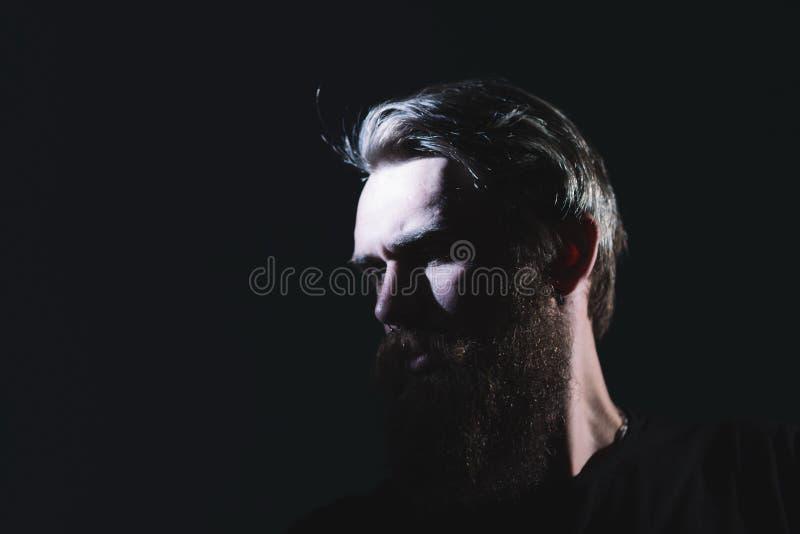 z bliska portret elegancki brodaty mężczyzna zdjęcia stock