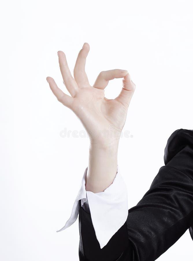 z bliska ręki biznesowej kobiety seansu gesta OK Odizolowywający na bielu obrazy stock