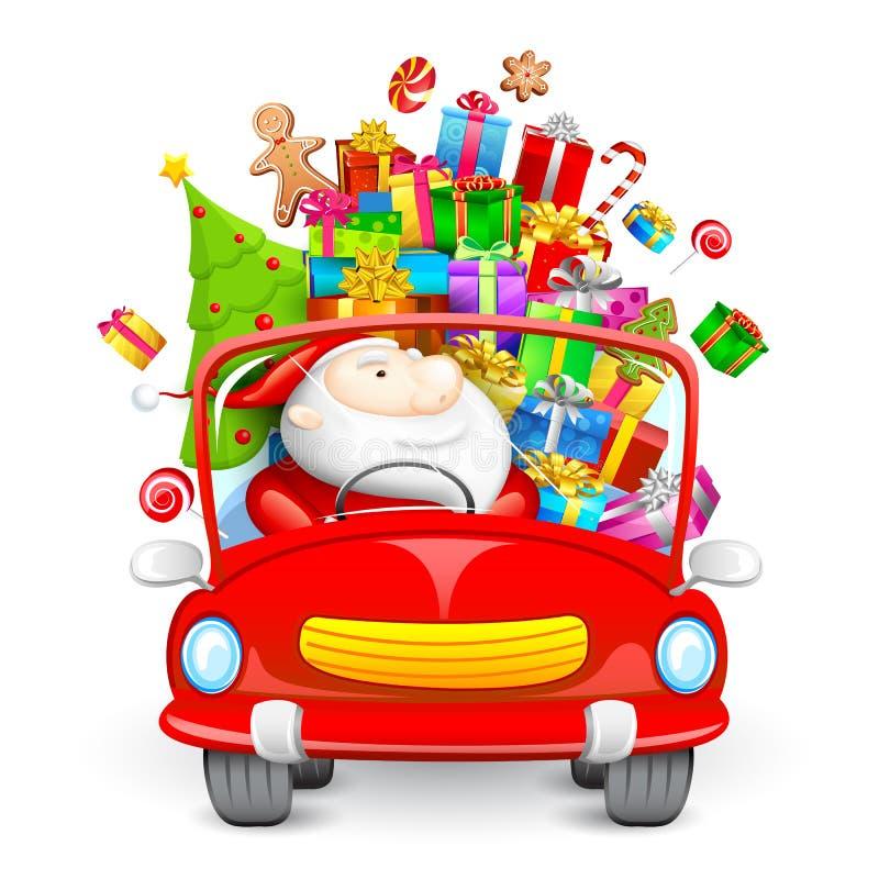 Z Bożenarodzeniowymi prezentami napędowy Święty Mikołaj samochód royalty ilustracja