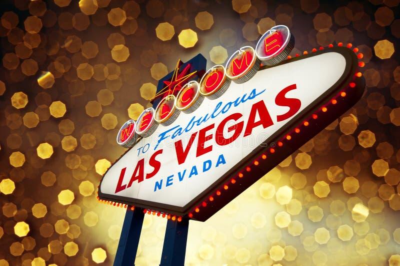 Z bokeh tłem Las Vegas Znak zdjęcia stock
