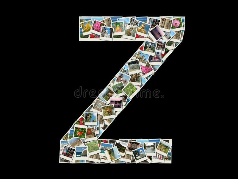 Z- brief - collage van reisfoto's stock afbeeldingen