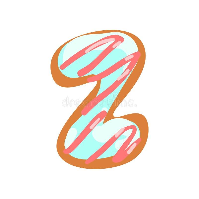 Z-Buchstabe in Form des Bonbons glasierte Plätzchen, essbaren Guss der Bäckerei von Illustration Vektor des englischen Alphabetes vektor abbildung