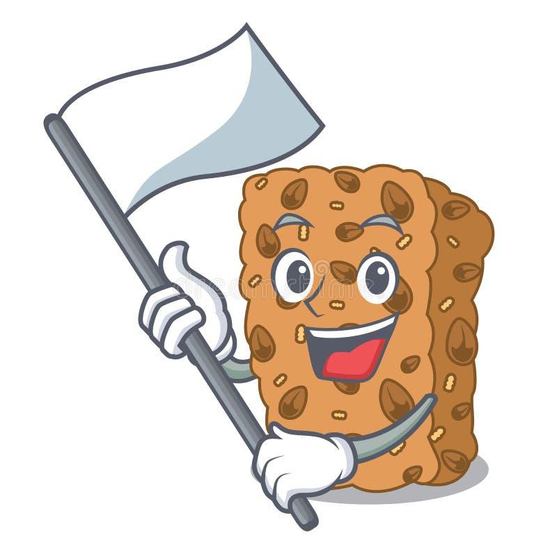 Z chorągwianą granola baru maskotki kreskówką ilustracji