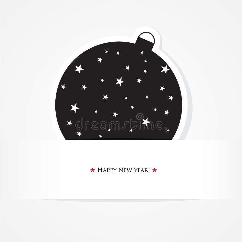 Z czarny piłką świętowanie bożenarodzeniowa karta ilustracji