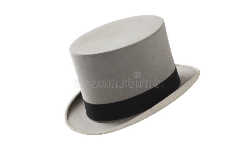 Z czarny zespołem rocznika kapelusz szary odczuwany odgórny zdjęcie stock