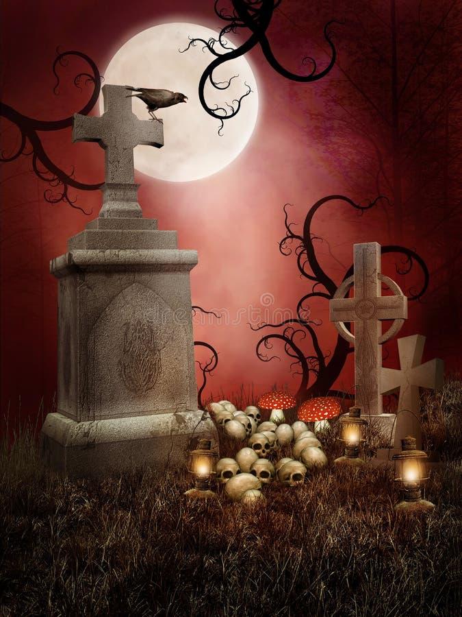 Z czaszkami przerażający grobowowie ilustracji