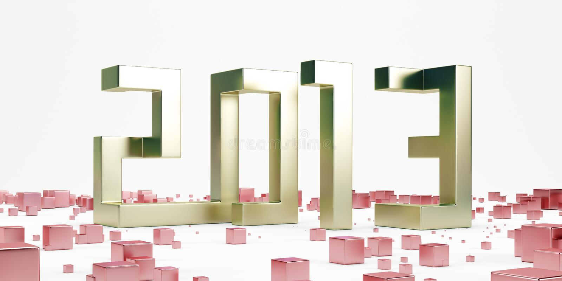 Z czerwonymi sześcianami złocisty nowy rok 2013 royalty ilustracja