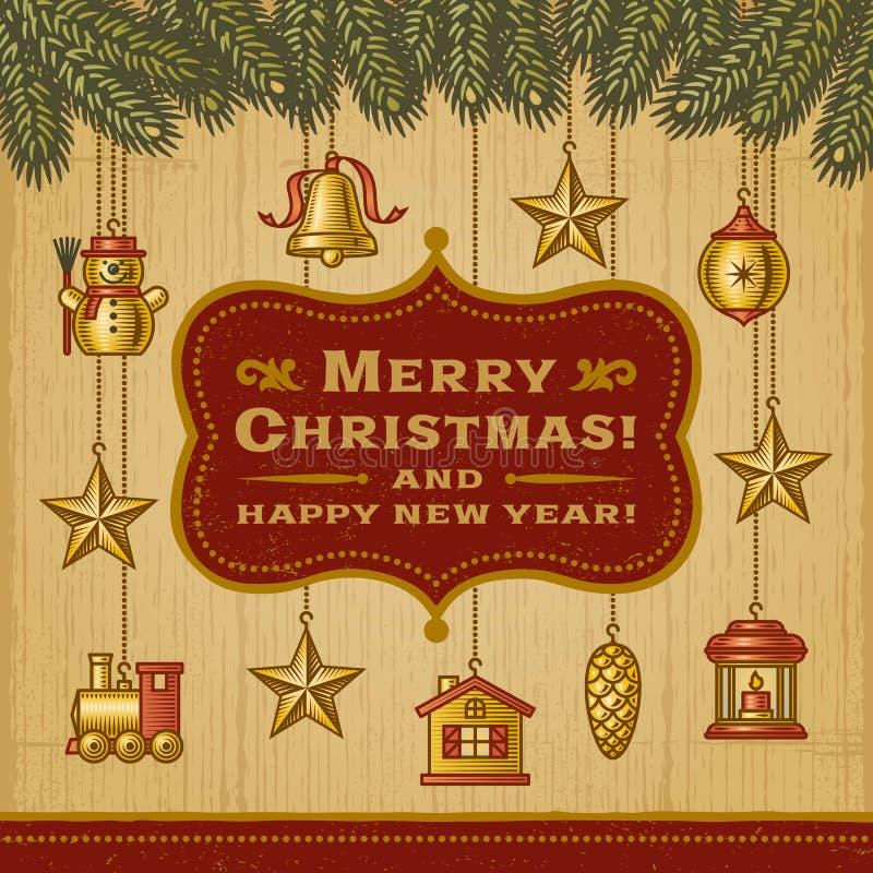 Z Dekoracjami rocznik Kartka Bożonarodzeniowa ilustracji