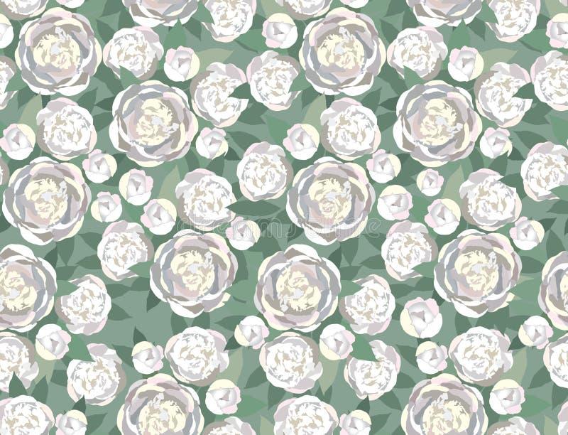 Z delikatnymi biały kwiatami bezszwowa tekstura royalty ilustracja