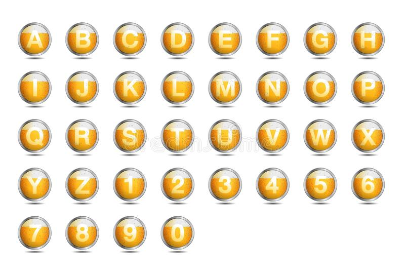 A-Z della fonte di alfabeto della birra dell'icona royalty illustrazione gratis