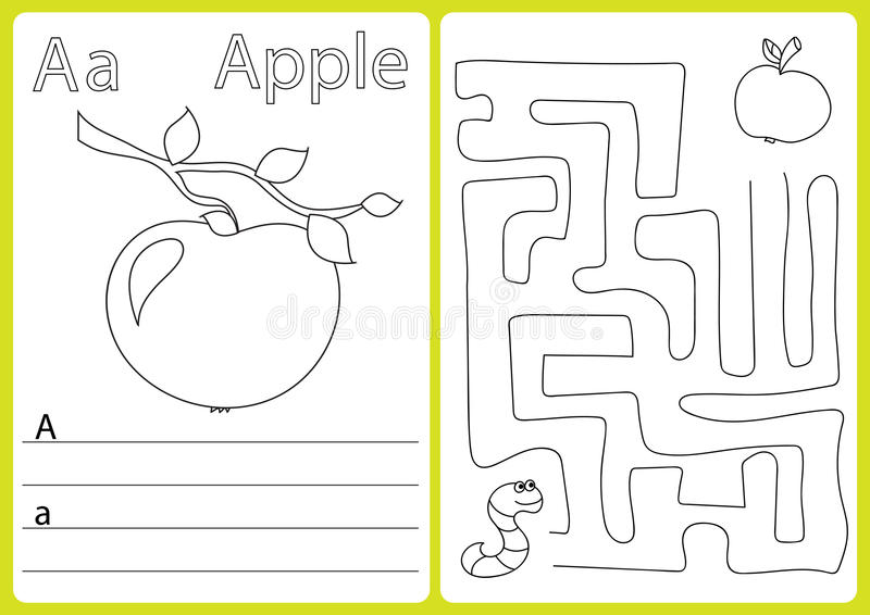 A-Z di alfabeto - imbarazzi il foglio di lavoro, esercizi per i bambini - libro da colorare illustrazione di stock