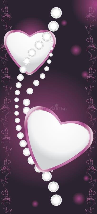 Z diamentami olśniewający serca ilustracji