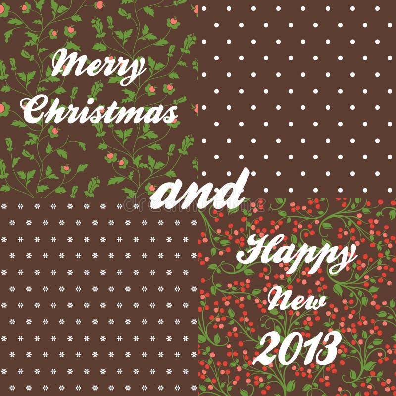 Z dojrzałymi jagodami Boże Narodzenie bezszwowy wzór ilustracja wektor