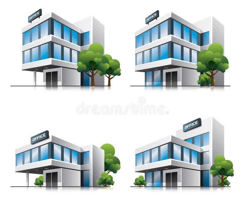 Z drzewami kreskówki cztery budynek biurowy. ilustracja wektor