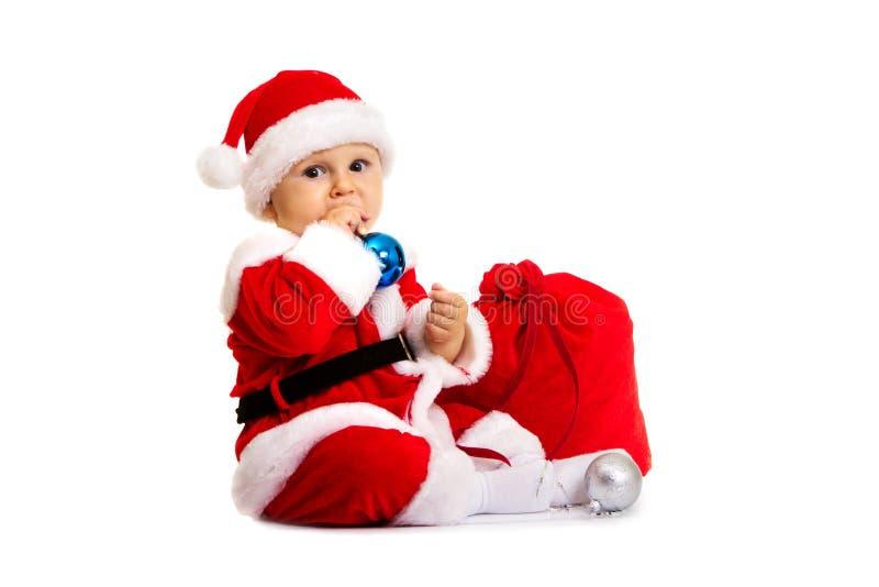 Z duży torbą mały Święty Mikołaj zdjęcie stock