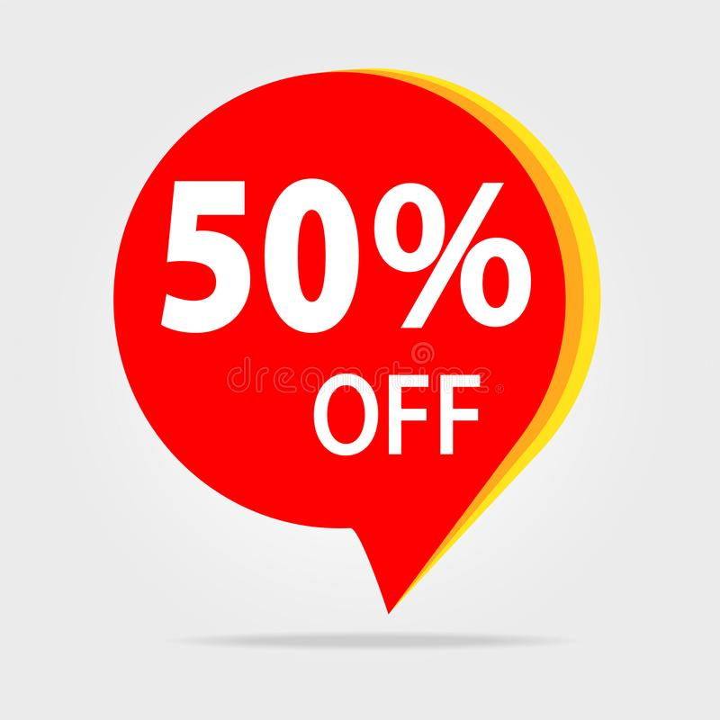 50% Z Dyskontowego majcheru Sprzedaży Czerwona etykietka Odosobniony Wektorowy Illustrat royalty ilustracja