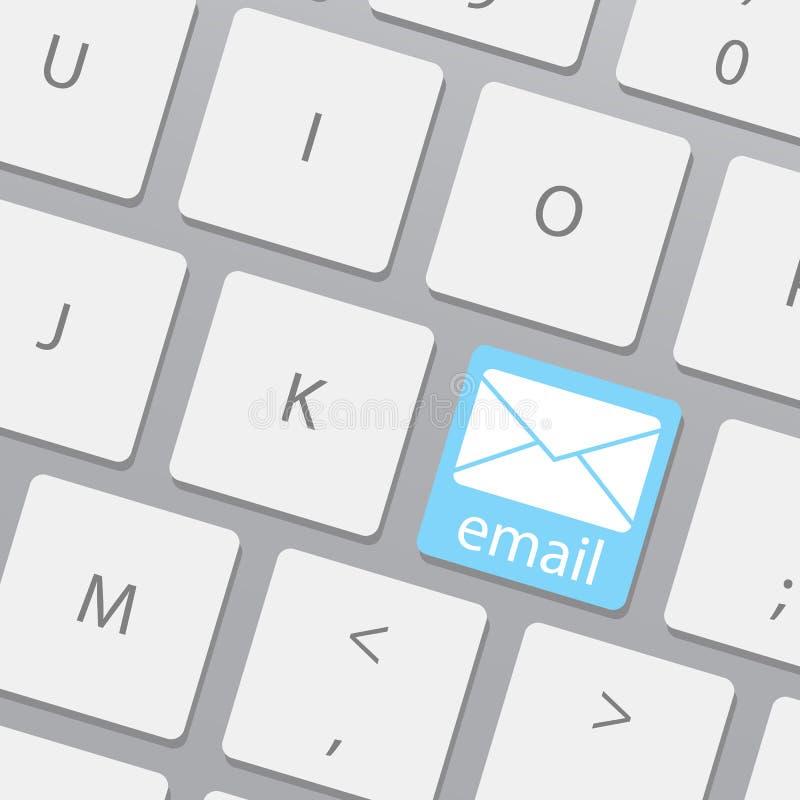 Z emaila kluczem komputerowa klawiatura Wysyła emaila guzika na klawiaturze Emaili pojęcia z wiadomością na komputerowej klawiatu royalty ilustracja