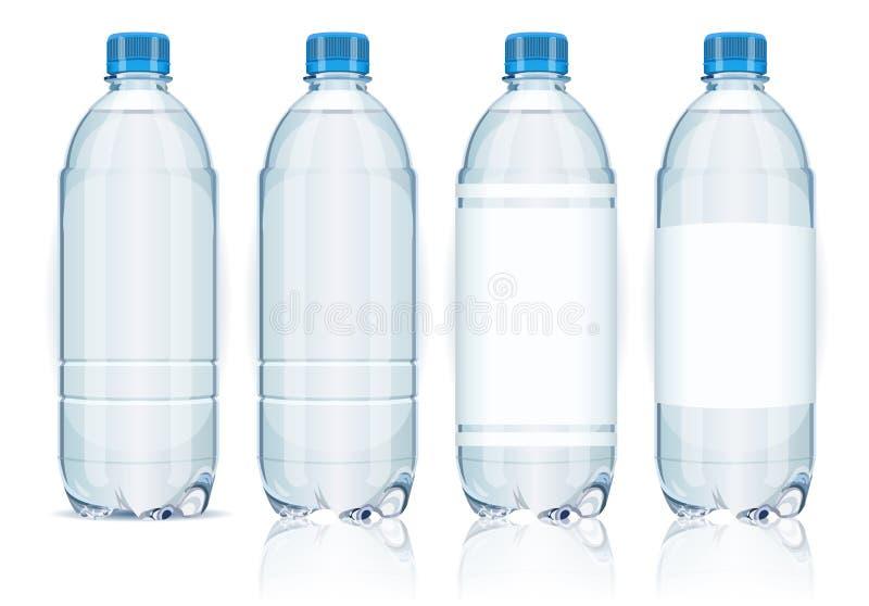 Z etykietkami cztery plastikowej butelki. royalty ilustracja