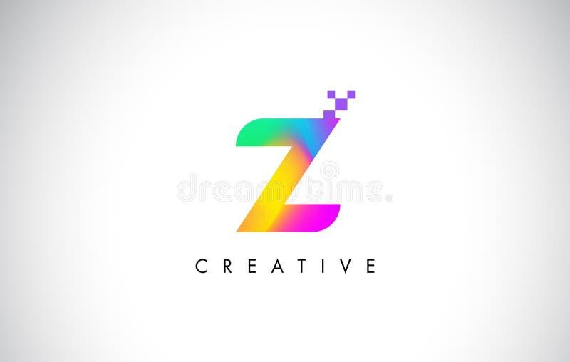 Z färgrika Logo Letter Design Vector Idérik regnbågelutning royaltyfri illustrationer