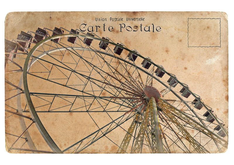 Z Ferris duży kołem stara pocztówka. royalty ilustracja