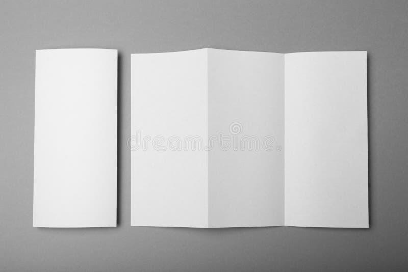 Z fold brochure mockup, white paper A4 mockup.  royalty free stock image