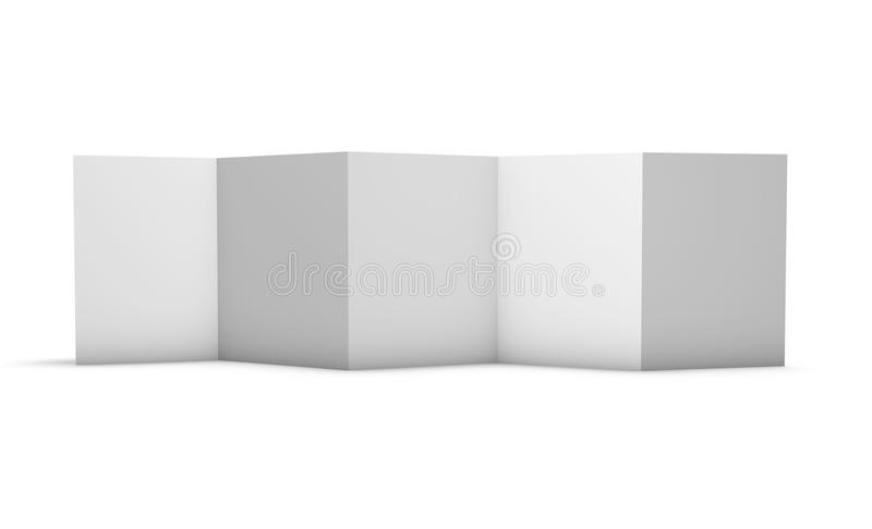 Z folded brochure with 5 blank pages format A4 3D illustration. Z folded brochure with 5 blank pages format A4 3D rendering vector illustration
