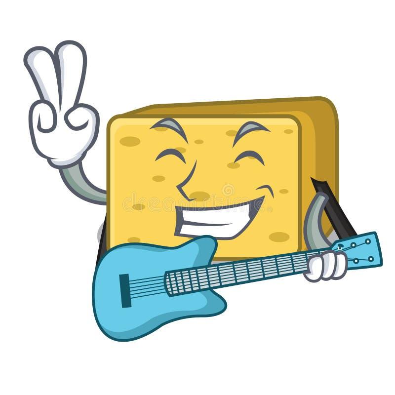 Z gitarą gouda ser składa kreskówkę royalty ilustracja