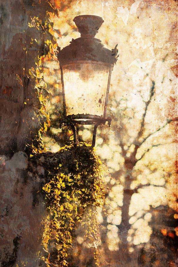 Z grunge teksturą stara latarnia uliczna obrazy royalty free