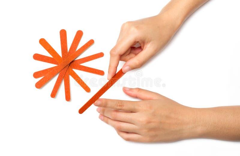 Z gwóźdź kartoteką polerowniczy kobieta paznokcie zdjęcia stock