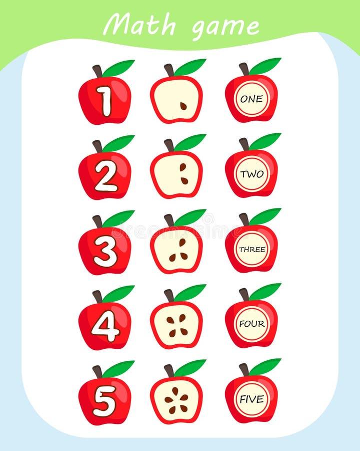 Z?hlung des Spiels f?r Vorschulkinder Zählungsäpfel im Bild Mathelernspiel f?r Kinder lizenzfreie abbildung