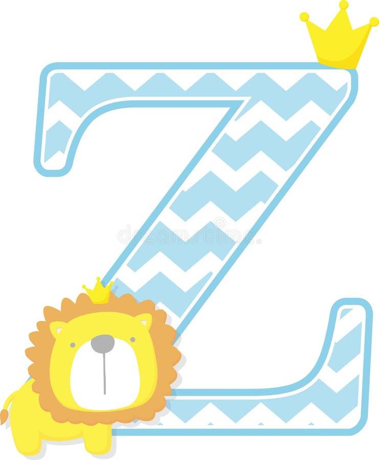 Z iniziale con il modello sveglio del gallone e di re leone illustrazione di stock