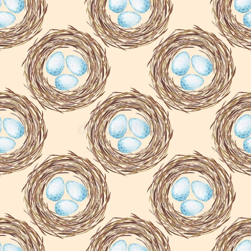 Z jajkami ptaka gniazdeczko bezszwowy wzoru royalty ilustracja