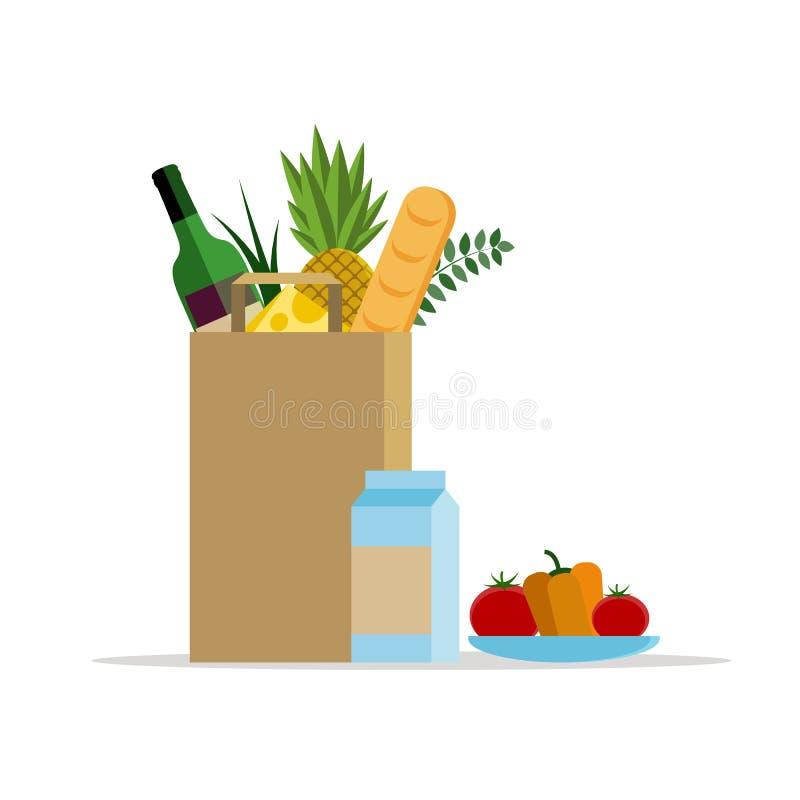 Z jedzeniem papierowa torba Papierowy pakunek z świeżym zdrowym produkt spożywczy Wektorowa płaska ilustracja Talerz z warzywami ilustracji