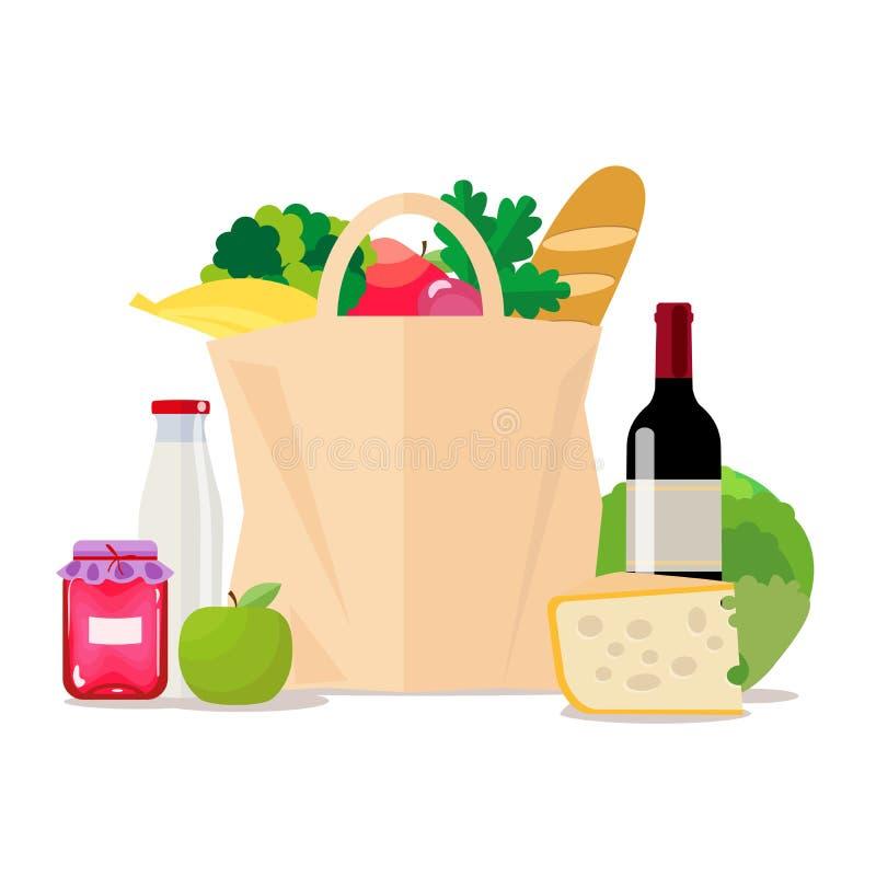 Z jedzeniem papierowa torba Robić zakupy przy sklepem spożywczym lub supermarketem Set zdrowy jedzenie Warzywa i owoc, wino ilustracja wektor