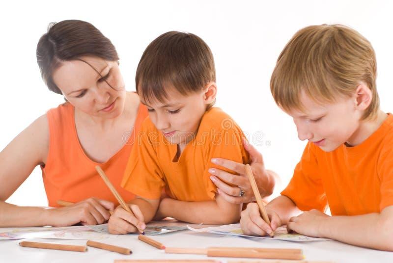 Z jego synami macierzyści remisy obraz stock