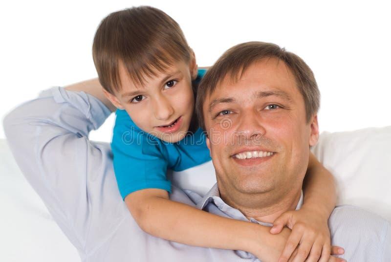 Z jego synem szczęśliwy ojciec fotografia royalty free