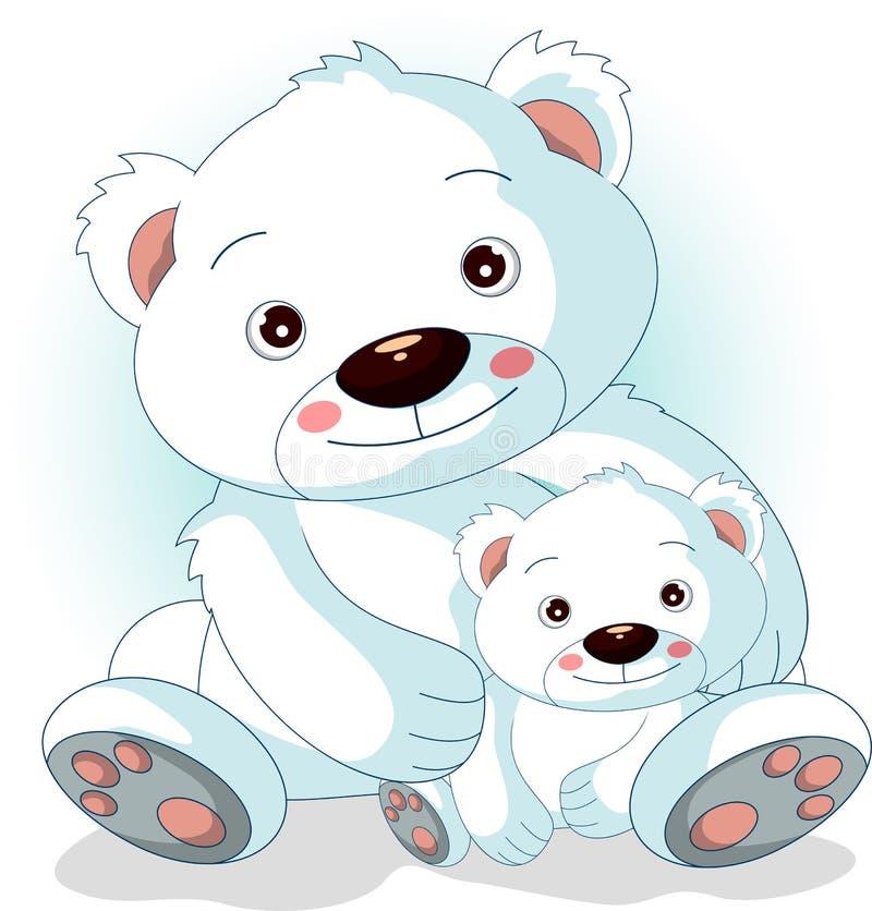 Z jej synami macierzysty niedźwiedź polarny ilustracja wektor