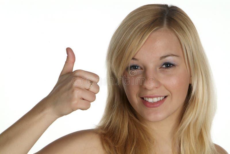 Z kciukiem blond kobieta obrazy royalty free