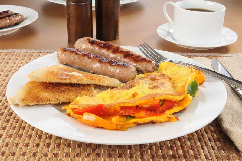 Z kiełbasą zachodni omlet obrazy royalty free