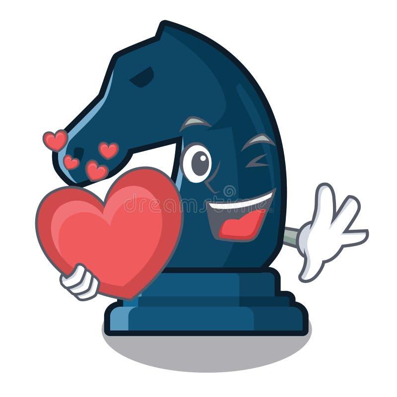 Z kierowym szachowym rycerzem odizolowywającym z kreskówką ilustracja wektor