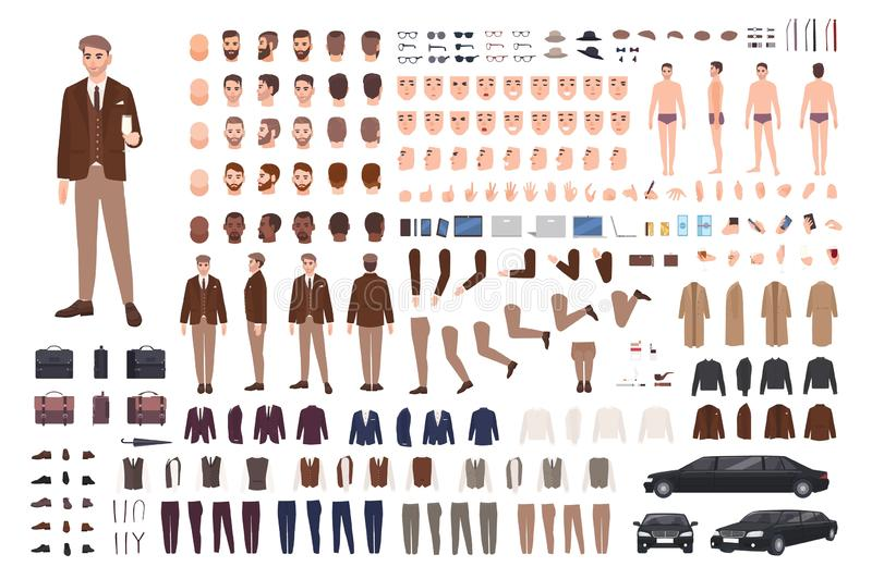 Z klasą elegancki mężczyzna w kostiumu tworzenia secie lub konstruktora zestawie Plik części ciałe, pozy, twarze, emocje, formaln ilustracji