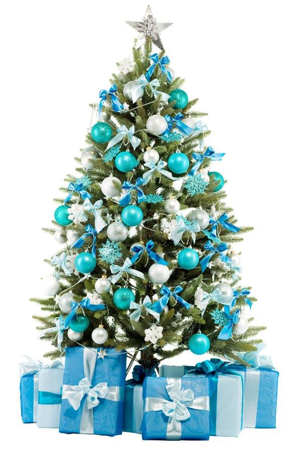 Z kolorowymi światłami bożenarodzeniowy jedlinowy drzewo zamyka kolorowy obraz royalty free