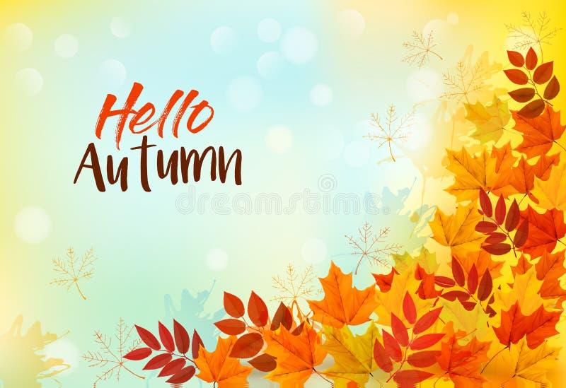 Z kolorowymi liść jesień tło ilustracji
