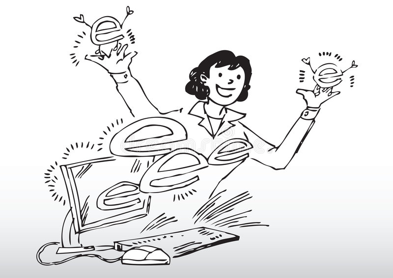 Z komputerem kreskówki kobieta ilustracja wektor