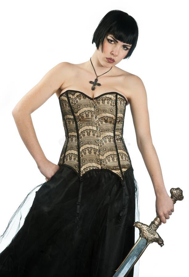Z kordzikiem gocka kobieta zdjęcia stock